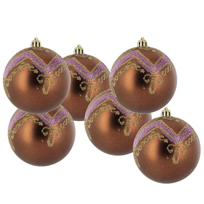 Набор подвесных украшений Шары, цвет: коричневый, 6 шт. 2243622436Набор подвесных шаров украсит новогоднюю елку и создаст теплую и уютную атмосферу праздника. Шары выполнены из пластика коричневого цвета и украшены золотистыми и сиреневыми блестками. Украшения упакованы в прозрачную пластиковую коробку. Елочная игрушка - символ Нового года. Она несет в себе волшебство и красоту праздника. Создайте в своем доме атмосферу веселья и радости, украшая всей семьей новогоднюю елку нарядными игрушками, которые будут из года в год накапливать теплоту воспоминаний. Характеристики: Материал: пластик. Диаметр шара: 8 см. Комплектация: 6 шт. Размер упаковки: 23,5 см х 15,5 см х 8 см. Изготовитель: Китай. Артикул: 22436.