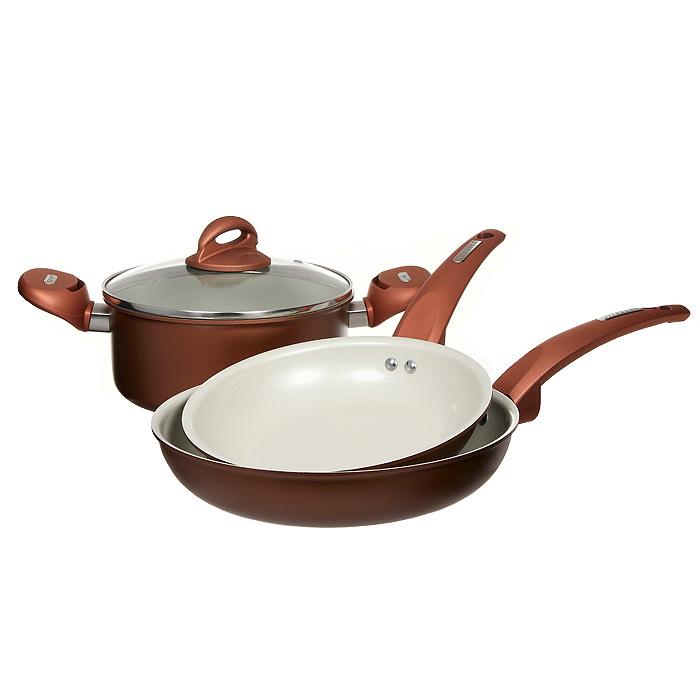 Набор посуды Vitesse, цвет: бронзовый, 4 предмета VS-2216VS-2216Набор посуды Vitesse прекрасно подойдет для вашей кухни. Он состоит из кастрюли с крышкой и двух сковородок разного диаметра. Предметы набора изготовлены из высококачественного алюминия. Они имеют внешнее элегантное цветное покрытие, подвергшееся высокотемпературной обработке. Стойкое внутреннее антипригарное керамическое покрытие позволяет готовить при температуре 450°С. Оно обеспечивает быстрый нагрев и равномерное распределение тепла по поверхности емкости. Ручки выполнены из бакелита и имеют удобную форму. Они высокопрочные, огнестойкие и не нагреваются. Крышка выполнена из стекла. Она оснащена отверстием для выхода пара и металлическим ободом по краю, который предотвратит скол стекла. Посуду можно использовать на любых типах плит, кроме индукционной. Характеристики: Материал: алюминий, бакелит, стекло. Объем кастрюли: 2,8 л. Диаметр кастрюли: 20 см. Диаметр малой сковороды: 20 см. Глубина малой...