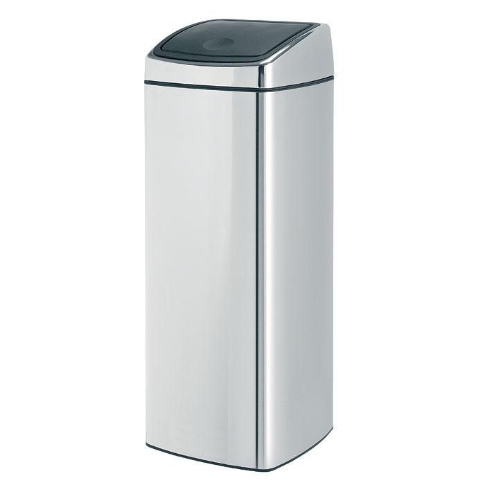 """Мусорный бак Brabantia """"Touch Bin"""", прямоугольный, цвет: серебристый, 25 л 384905"""