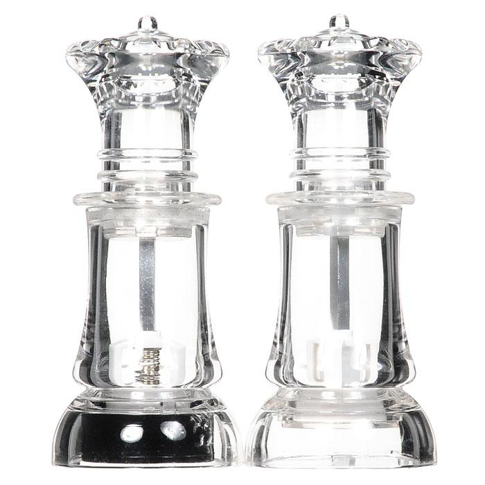 Набор для специй Шах, цвет: прозрачный, 2 предмета. 913127913127Набор Шах состоит из мельницы для перца и мельницы для соли. Корпус изделий изготовлен из прозрачного акрила. Жернова в основании приборов выполнены из керамики. Мельницы легки в использовании, стоит только покрутить верхнюю часть мельницы, и вы с легкостью сможете поперчить или посолить по своему вкусу любое блюдо, а прозрачный корпус - позволяет следить за тем, сколько приправы осталось. Оригинальный набор модного дизайна будет отлично смотреться на вашей кухне. Предметы набора открываются сверху. Они имеют верхний защелкивающийся элемент (они не откручиваются, а вставляются).