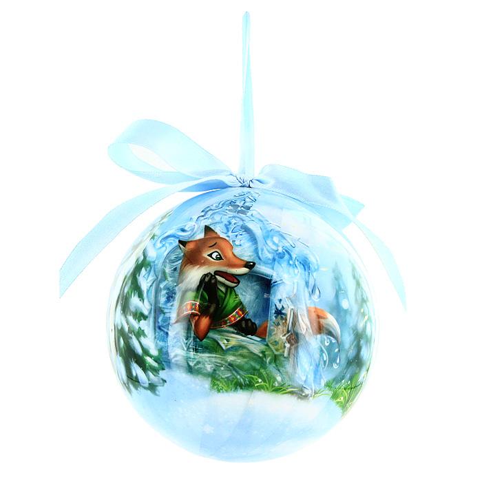 Новогоднее подвесное украшение Лиса и заяц020205Новогоднее подвесное украшение Лиса и заяц отлично подойдет для декорации вашего дома и новогодней ели. Украшение изготовлено из ПВХ и выполнено в виде елочного шара, оформленного изображением по мотивам сказки Заяц и Лисица. Благодаря атласной ленточке, украшение можно повесить в любом месте. Оригинальный дизайн и красочное исполнение создадут праздничное настроение. Подвесное украшение упаковано в стильную подарочную коробку.