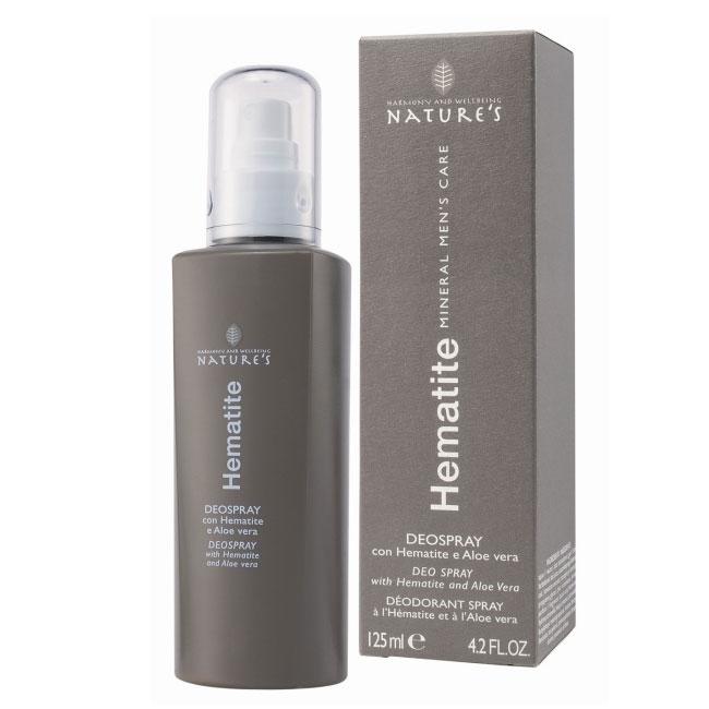 Дезодорант Natures Hematite, 125 мл60260901Дезодорант Natures Hematite нейтрализует неприятный запах. Содержание микроталька обеспечивает сухость подмышечных впадин, позволяя коже дышать. Бодрящий аромат дает ощущение свежести, алое вера и витамин Е оставляют кожу мягкой без раздражения. Не содержит спирт. Подходит для чувствительной кожи. Не оставляет пятен на одежде.