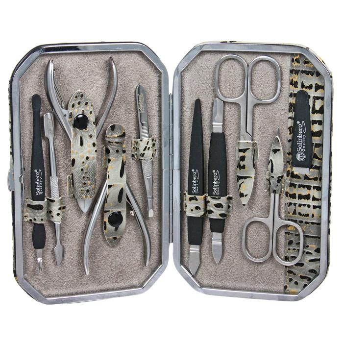 Маникюрный набор Solinberg, 10 предметов. 141-3070157201 салатовыйМаникюрный набор Solinberg, выполненный из высокопрочной стали и пластика, состоит из 10 предметов для ухода за ногтями: пилочки, 2-х ножниц, инструмента для удаления кутикул, 3-и инструмента для обработки кутикул, пинцета, маникюрных кусачек и педикюрных кусачек.Инструменты хранятся в оригинальном футляре. Набор Solinberg станет незаменимым атрибутом при уходе за ногтями рук и ног в домашних условиях и отлично подойдет в качестве подарка. Характеристики:Материал предметов: сталь, пластик. Длина ножниц: 9 см. Длина пилочки: 12 см. Длина кусачек: 9,3 см. Материал футляра: металл, экокожа. Размер футляра: 17 см х 10,5 см х 2,3 см. Размер упаковки: 17,3 см х 11,3 см х 2,7 см. Производитель: Германия. Артикул:141-30701. Товар сертифицирован.УВАЖАЕМЫЕ КЛИЕНТЫ! Обращаем ваше внимание на ассортимент в цветовом дизайне товара. Поставка осуществляется в зависимостиот наличия на складе.