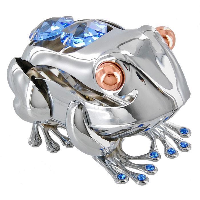 Миниатюра Большая лягушка, цвет: серебристый, 6,5 смU0250-001-CBLДекоративное изделие в виде лягушки, украшенное на спинке и лапах голубыми кристаллами Swarovski, изготовлено из высококачественной стали. Оригинальная миниатюра будет отличным подарком для ваших друзей и коллег. Более 30 лет компания Crystocraft создает качественные, красивые и изящные сувениры, декорированные различными кристаллами Swarovski. Характеристики: Материал: сталь, кристаллы Swarovski. Длина: 6,5 см. Размер коробки: 6,5 см х 9 см х 4,5 см. Артикул: U0250-001-CBL. Производитель: Китай.