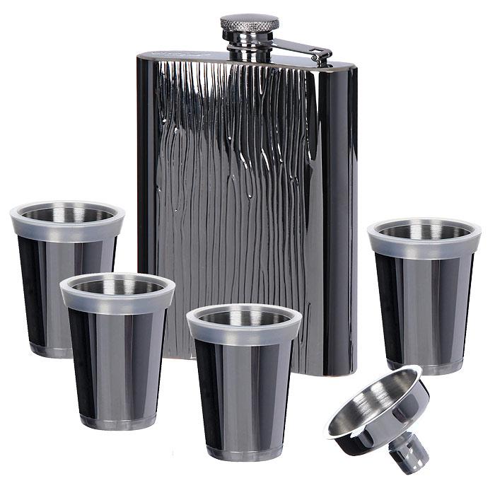 Фляга Vitesse Maere со стопкамиVT-1520(SR)Фляга Maere выполнена из нержавеющей стали с зеркальной полировкой. В комплект также входят четыре стопки и небольшая воронка для удобства заполнения фляги. Стопки и воронка изготовлены из нержавеющей стали. Комплект упакован в коробку, отделанную черным бархатом и закрывающуюся клапаном на магнит. Такая фляга со стопками будет великолепным подарком друзьям, близким и коллегам.Характеристики: Объем фляги:300 мл. Размер фляги:9,5 см х 14,5 см х 2,5 см. Объем стопки:30 мл. Диаметр стопки:4,5 см. Высота стопки:5,5 см. Материал:нержавеющая сталь 18/10, пластик. Размер упаковки:18 см х 18 см х 5,5 см.Артикул:VS-1813.Кухонная посуда марки Vitesseиз нержавеющей стали 18/10 предоставит Вам все необходимое для получения удовольствия от приготовления пищи и принесет радость от его результатов. Посуда Vitesse обладает выдающимися функциональными свойствами. Легкие в уходе кастрюли и сковородки имеют плотно закрывающиеся крышки, которые дают возможность готовить с малым количеством воды и экономией энергии, и идеально подходят для всех видов плит: газовых, электрических, стеклокерамических и индукционных. Конструкция дна посуды гарантирует быстрое поглощение тепла, его равномерное распределение и сохранение. Великолепно отполированная поверхность, а также многочисленные конструктивные новшества, заложенные во все изделия Vitesse, позволит Вам открыть новые горизонты приготовления уже знакомых блюд. Для производства посуды Vitesseиспользуются только высококачественные материалы, которые соответствуют международным стандартам.