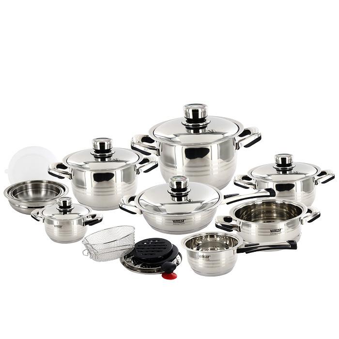 Набор посуды Vitesse Opaline, 23 предметаVS-1003Набор посуды Vitesse Opaline прекрасно подойдет для вашей кухни. Предметы набора изготовлены из высококачественной нержавеющей стали 18/10 с зеркальной полировкой. Набор включает: - четыре кастрюли с крышками: 1,7 л, 2,65 л, 3,9 л и 7 л, - сотейник с крышкой, - сковороду с крышкой, - пароварку, - корзину для жарки, - две чаши для смешивания продуктов с крышками из поливинилхлорида, - терку, - кольцо-адаптер, - две бакелитовые подставки, - ручку с вакуумной присоской. Характерные особенности: Термоаккумулирующее дно. Посуда оснащена капсулированным дном с прослойкой алюминия, которое обеспечивает наилучшее распределение тепла по поверхности посуды. Термические свойства ручек. Ручки кастрюль, сковороды, пароварки и сотейника изготовлены из бакелита термостойкого материала, который не нагревается даже при продолжительном приготовлении. Универсальность относительно источников...