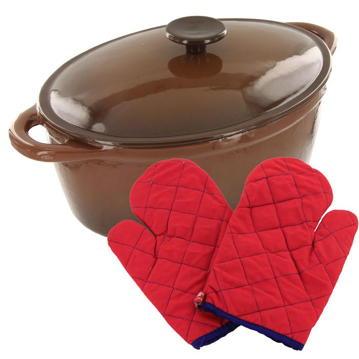 Жаровня чугунная Vitesse с прихватками, 4 лVS-2308Жаровня с крышкой Vitesse, изготовленная из чугуна с антикоррозионным покрытием, станет незаменимым помощником на вашей кухне. Высокая теплоемкость чугуна позволяет ему сильно нагреваться и медленно остывать, а это в свою очередь обеспечивает равномерное приготовление продуктов. Пища, приготовленная в чугунной посуде, сохраняет свои вкусовые качества, и благодаря экологической чистоте материала, не может нанести вред здоровью человека. Также чугунная жаровня обладает высокой прочностью и износоустойчивостью. Жаровня имеет эмалированное внутреннее покрытие. Она оснащена двумя короткими удобными ручками и чугунной крышкой. В комплект также входят две прихватки-рукавицы. Жаровня подходит для использования на всех видах кухонных плит. Изделие можно мыть в посудомоечной машине. Характеристики: Материал: чугун, текстиль. Размер (без учета ручек): 28 см х 10 см х 21,5 см. Размер (с учетом ручек): 34 см х 10 см х 21,5 см. ...