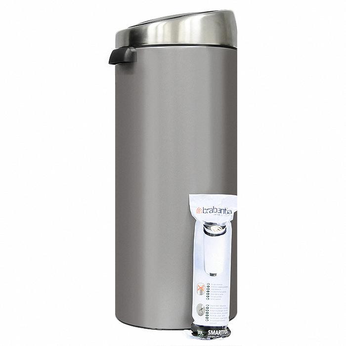 Мусорный бак Brabantia Touch Bin, 30 л. 399664399664Мусорный бак Touch Bin выполнен из гальванизированой стали. Особенности мусорного бака Touch Bin: система закрытия brabantia -soft-touch; открытие крышки нажатием; съемная крышка из нержавеющей стали; пластиковый защитный ободок (не царапает пол); внутренняя корзина из пластика со специальными вентиляционными отверстиями для предотвращения образования вакуума при извлечении полного пакета; металлическая ручка на корзине; ручка для переноса; крышка закрывается\открывается бесшумно, плотно прилегает, предотвращая распространение запаха; фирменные мусорные мешки в комплекте. Характеристики: Материал: металл, пластик. Объем: 30 л. Высота бака (с учетом крышки): 72 см. Общий диаметр бака: 28 см. Размер упаковки: 75 см х 30 см х 30 см. Производитель: Бельгия. Артикул: 399664. Гарантия производителя: 5 лет.