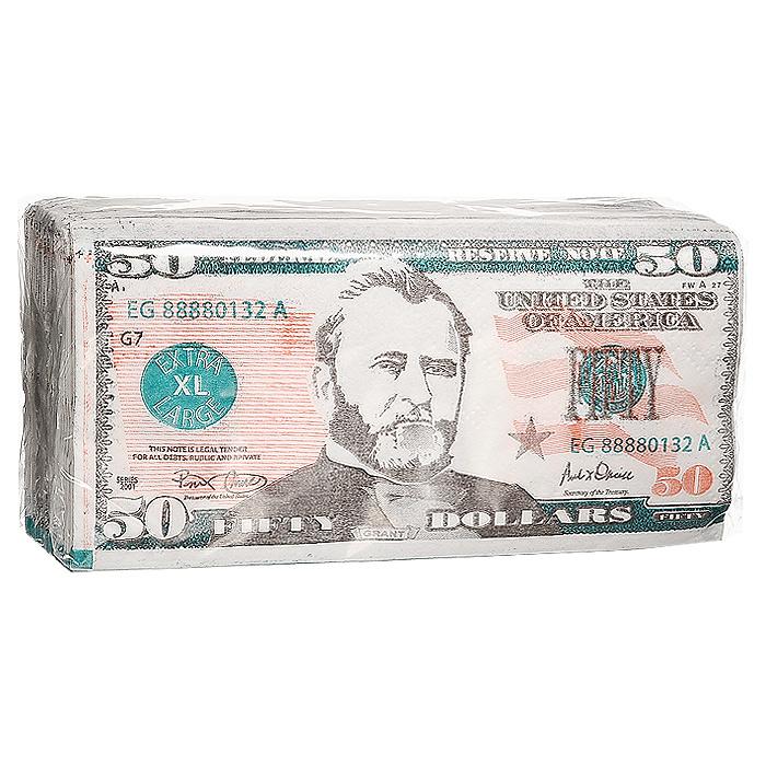 Салфетки Пачка 50 долларов92408Качественные бумажные двухслойные салфетки Пачка 50 долларов с изображением купюр в 50 долларов - оригинальный сувенир для людей, ценящих чувство юмора. Характеристики: Размер упаковки: 16,5 см x 8,5 см x 4 см. Размер салфетки: 33 см x 33 см. Материал: бумага. Производитель: Россия. Артикул: 92408.