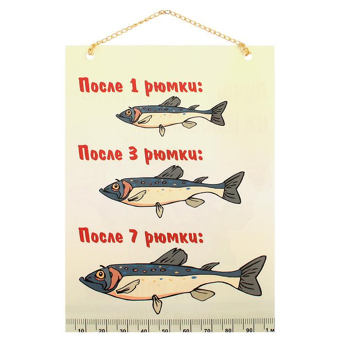 Плакат Рыбалка / Рюмки91589Забавный плакат Рыбалка / Рюмки станет оригинальным подарком. Плакат выполнен из бумаги с глянцевой ламинацией и оформлен красочными веселыми изображениями. На одной стороне плаката написано Лучше плохой день на рыбалке, чем хороший на работе!, на другой - После 1 рюмки: после 3 рюмки: после 7 рюмки:. Плакат можно повесить в любое понравившееся вам место благодаря цепочке. Характеристики: Размеры плаката: 20,5 см x 14,5 см. Длина цепочки: 11 см. Артикул: 91589.