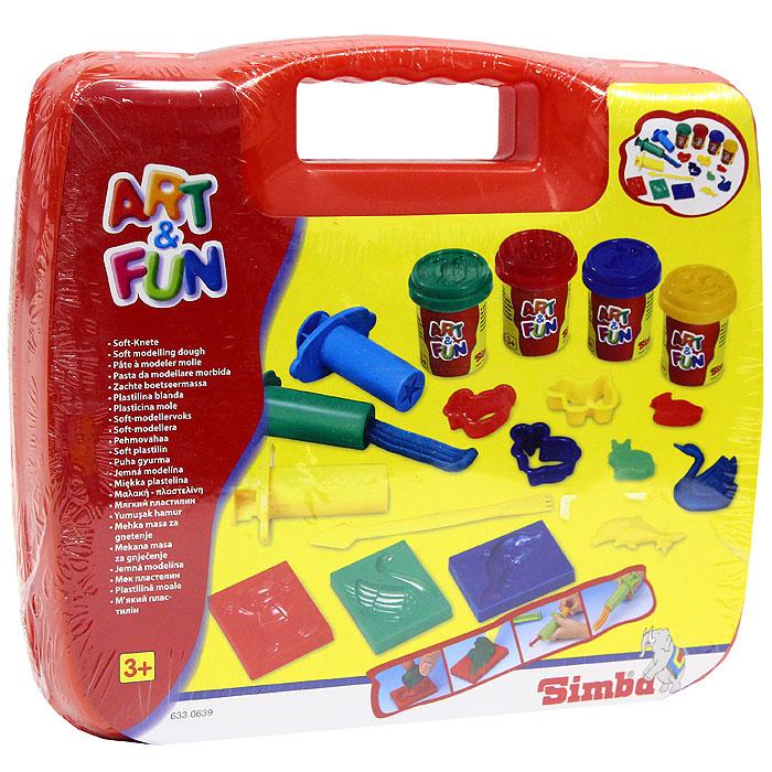 Simba Набор пластилина Art & Fun в чемоданчике, цвет: красный6330639С набором пластилина Art & Fun ваш малыш сможет создать множество ярких поделок. В набор также входят: четыре баночки с пластилином, десять формочек, ножик, три шприца. Лепка из пластилина способствует развитию мелкой моторики рук, воображения, творческих способностей и надолго займет ребенка интересным занятием.