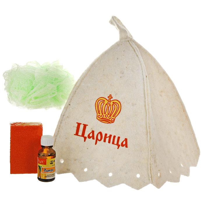 Набор для бани и сауны Царица: шапка, мочалка, эфирное масло, пемзаБ32306Набор для бани и сауны Царица состоит из необходимых аксессуаров, для того чтобы банный поход принес вам только радость. В набор входят: Шапка, выполненная из войлока, необходима для того, чтобы не перегреть голову, также она должна хорошо впитывать влагу. Шапка декорирована изображением царской короны и надписью Царица; Мочалка, выполненная из нейлона - отлично пенится и оказывает эффект массажа; Искусственная пемза - прекрасно удаляет огрубевшую, сухую кожу ступней и локтей, оставляя их мягкими и гладкими; Эфирное масло Лимон - тонизирует, оказывает антибактериальное, антисептическое действие, смягчает огрубевшие участки кожи, способствует заживлению трещин. Характеристики: Материал шапки: шерсть/пэф, Материала мочалки: ПЭ. Материал пемзы: пенополиуретан. Максимальный обхват головы (по основанию шапки): 72 см. Высота шапки: 24 см. Диаметр мочалки: 12 см. Размер пемзы: 8 см х 2,5 см х 5 см. ...