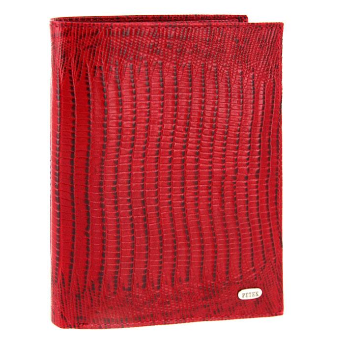 Обложка для паспорта Petek с бумажником, цвет: красный. 597.041.101961Обложка для паспорта Petek выполнена из натуральной кожи красного цвета с декоративным тиснением под рептилию. Внутри - отделение для паспорта, два отделения для купюр, пять кармашков для кредитных карт, два вертикальных кармана для бумаг и два вертикальных сетчатых кармана. Обложка не только поможет сохранить внешний вид ваших документов и защитить их от повреждений, но и станет стильным аксессуаром, идеально подходящим вашему образу. Такая обложка станет замечательным подарком человеку, ценящему качественные и практичные вещи.