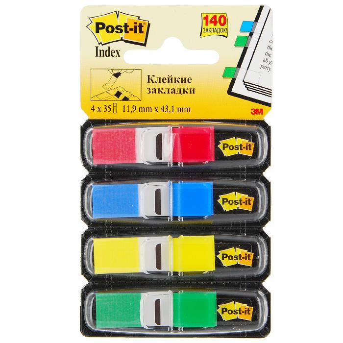 Закладки самоклеящиеся Post-it, 140 шт683-4Разнообразие цвета классических узких закладок Post-it помогут выделить и отметить нужную информацию, организовать цветовое кодирование страниц и разделов. Специальная Z-укладка позволяет извлекать закладки одной рукой. Прозрачная клейкая часть закладки не закрывает текст, а уникальный клеевой состав позволяет многократно переклеивать закладку, не повреждая и не пачкая страниц. В комплекте закладки четырех цветов, каждый из которых располагается в индивидуальном контейнере. Характеристики: Цвет: красный, синий, желтый, зеленый. Размер закладки: 1,19 см х 4,31 см. Размер упаковки: 12 см х 7 см. Количество: 4 х 35 шт.
