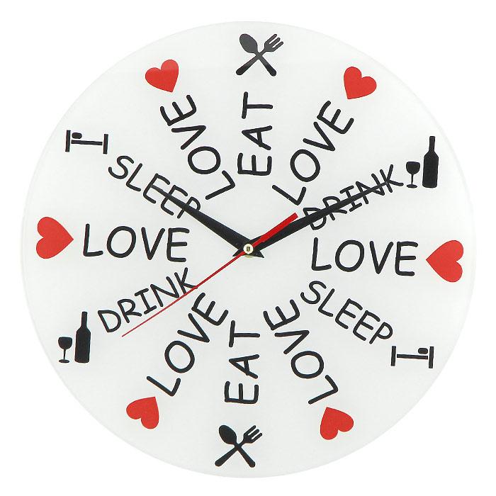 Часы настенные Love. Eat. Drink. Sleep93132Настенные кварцевые часы Love. Eat. Drink. Sleep своим необычным дизайном подчеркнут стильность и оригинальность интерьера вашего дома. Циферблат часов выполнен из стекла и оформлен надписями и яркими картинками. Часы имеют три стрелки - часовую, минутную и секундную. На задней стенке часов расположена металлическая петелька для подвешивания. Такие часы послужат отличным подарком для ценителя ярких и необычных вещей.