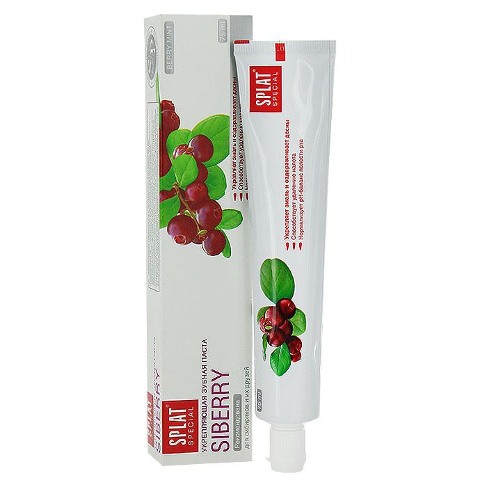 Зубная паста Splat Special Siberry/Сибирские ягоды, укрепляющая, 75 млСЯ-132Эффективная зубная паста предназначена для комплексного ухода за полостью рта. Целебные экстракты ягод брусники, можжевельника, облепихи, клюквы и земляники прекрасно оздоравливают десны. Гидроксиапатит - основное строительное вещество эмали - способствует укреплению эмали и снижает повышенную чувствительность зубов. Экстракт корня ратании в сочетании с высокоэффективным антисептиком Biosol обладает заживляющими свойствами. Натуральный комплекс ферментов (лактоферрин, лактопероксидаза, оксидаза глюкозы) поддерживает местный иммунитет полости рта, обладает противомикробным, противовирусным действием и подавляет рост вредных бактерий. Глюконат цинка обладает вяжущими свойствами и надолго сохраняет свежесть дыхания. Органическая форма фтора - Olaflur - эффективно защищает от кариеса. Аромат сибирских ягод. Содержит фтор (1000 ppm). Активные компоненты: экстракт ратании, экстракты ягод брусники, можжевельника, облепихи, клюквы, земляники, Biosol,...