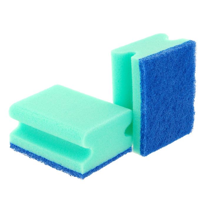 Набор губок Aqualine для мытья посуды, 2 штS03301004Набор Aqualine состоит из двух губок для мытья посуды, изготовленной из деликатных материалов: акрила, тефлона, стекла, фарфора, хрусталя, полированной стали и стеклокерамики. Губки отлично удаляют жир, грязь и пригоревшую пищу, не царапая поверхности. Жесткая сторона губки не содержит абразива, чистит основательно и бережно, хорошо впитывает жидкость. Губки позволяют расходовать минимальное количество чистящих средств. Специальные пазы для пальцев по краям губок защитят ваши руки во время мытья посуды. Характеристики:Материал губки: 100% полиуретан. Материал чистящей части губки:30% полиамид, 10% полиэстер, 60% связующие вещества. Размер губки:9,2 см х 4,5 см х 7 см. Комплектация:2 шт. Производитель:Германия. Артикул:1006.