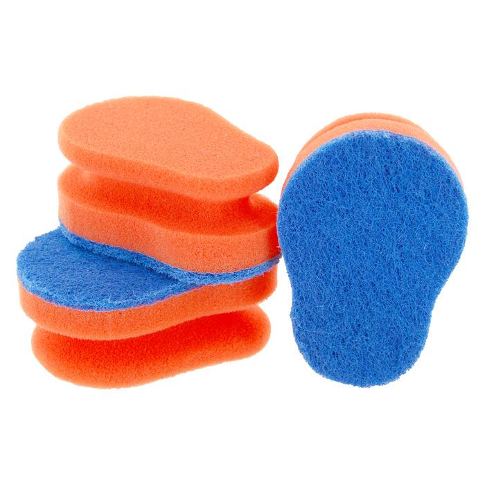 Набор губок Aqualine для мытья посуды, цвет: оранжевый, голубой, 3 шт1127Набор Aqualine состоит из трех эргономичных губок, предназначенных для мытья посуды из тефлона, стекла, фарфора, хрусталя, полированной стали, стеклокерамики. Губки отлично удаляют жир, грязь и пригоревшую пищу, не царапая посуду. Жесткая сторона губки не содержит абразива, чистит основательно и бережно, хорошо впитывает жидкость. Губки позволяют расходовать минимальное количество чистящих средств. Специальные пазы для пальцев по краям губок защитят ваши руки во время мытья посуды. Размер губки: 10 см х 4,2 см х 7 см.