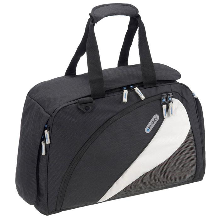 Сумка спортивная Husky Gillet 43L, цвет: черныйУТ-000048641Спортивная сумка Husky Gillet 43L очень практичная и удобная. Выполнена из водонепроницаемого материала. Внутри сумка состоит из одного большого отделения, небольшого накладного кармана на застежке-молнии и трех небольших карманов из сетчатого материала. Сумка застегивается на застежку-молнию. Внешняя сторона оснащена большим карманом для сменной обуви, карманом внутри которого небольшое отделение на застежке-молнии и отделение для бутылки с эластичными резинками, а также большим карманом. Все карманы застегиваются на застежки-молнии. Сумка дополнена двумя ручками для удобной переноски и съемным плечевым ремнем. Характеристики: Объем: 43 л. Размер: 55 см х 34 см х 23 см. Материал: полиэстер Diamond RipStop 420D с водоотталкивающей пропиткой. Вес: 800 г. Производитель: Чехия.