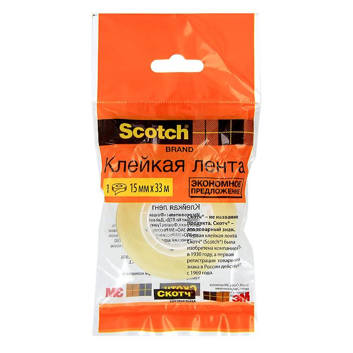 Клейкая лента Scotch, цвет: прозрачный. C27913C27913 (500-1533)Канцелярская клейкая лента Scotch - универсальный помощник в доме и офисе. Лента предназначена для склеивания документов, упаковки, картона и имеет сильный клеящий состав. После наклеивания лента становится абсолютно невидимой.