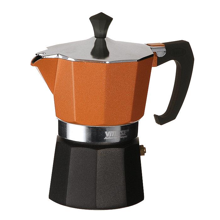 Кофеварка-эспрессо Vitesse на 3 чашки, цвет: оранжевыйVS-2604Кофеварка-эспрессо Vitesse позволит вам приготовить ароматный напиток на 3 персоны. Корпус кофеварки изготовлен из высококачественного алюминия. Кофеварка состоит из двух соединенных между собой емкостей и снабжена алюминиевым фильтром-перколятором, который сохраняет аромат кофе. Удобная ручка выполнена из жаропрочного бакелита с противоскользящим покрытием. Принцип работы такой кофеварки состоит в том, что кофе заваривается путем многократного прохождения горячей воды или пара через слой молотого кофе. В нижнюю емкость наливается вода, в эту же емкость устанавливается фильтр, в который засыпается кофе. К нижней емкости прикручивается верхняя емкость, после чего кофеварка ставится на электрическую плиту, и через несколько минут кофе начинает брызгать в верхний контейнер и осаждаться. Кофе получается крепкий и насыщенный. Характеристики: Материал: алюминий, бакелит. Высота (с учетом крышки): 16 см. Диаметр основания: 8 см. Рабочий объем: 105 мл....