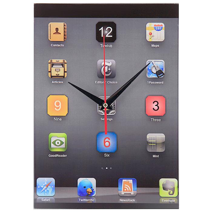 Часы настенные iClock93514Настенные кварцевые часы iClock своим необычным дизайном подчеркнут стильность и оригинальность интерьера вашего дома. Циферблат часов прямоугольной формы выполнен из стекла и оформлен в стиле рабочего стола iPhone. Часы имеют три стрелки - часовую, минутную и секундную. На задней стенке часов расположена металлическая петелька для подвешивания. Такие часы послужат отличным подарком для ценителя ярких и необычных вещей. Характеристики: Материал: стекло, металл. Размер часов: 20 см х 27,5 см. Размер упаковки: 22 см х 30,5 см х 4,5 см. Артикул: 93514. Рекомендуется докупить батарейку типа АА (не входит в комплект).