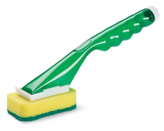 Губка прямоугольная Libman, с ручкой-дозатором. 0004800048Губка Libman прямоугольной формы выполнена из полиэстера с абразивным волокном. Губка крепится к пластиковой ручке-дозатору. В ручку заливается моющее средство, которое в процессе мытья посуды подается на губку. Губка легко снимается с ручки-дозатора и заменяется. Губка рекомендуется для мытья посуды и других поверхностей, требующих более тщательной очистки.