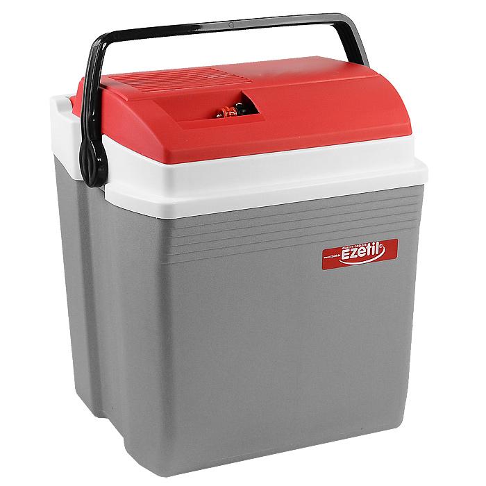 Автомобильный холодильник Ezetil E 28, цвет: серый, красный, 28 л80621Малогабаритный электрический холодильник Ezetil E 28S предназначен для хранения и транспортировки предварительно охлажденных продуктов и напитков. Контейнер удобно использовать в салоне автомобиля в качестве портативного холодильника. Он легко поместится в любой машине! Особенности автомобильного холодильника Ezetil E 28S:- выполнен из прочного пластика высокого качества,- работает от 12 В прикуривателя,- внутри контейнера имеется вместительный отсек для хранения продуктов и напитков,- подходит для хранения 1,5-литровых бутылок в вертикальном положении,- крышка холодильника открывается одной рукой,- встроенный вентилятор, изоляция из пеноматериала и отсек для хранения шнура и штекера прикуривателя (12 В) вмонтирован в крышку,- дополнительный внутренний вентилятор в холодильной камере обеспечивает быстрое и равномерное охлаждение,- мощная, не нуждающаяся в техобслуживании охлаждающая система Peltier гарантирует оптимальную производительность по холоду,- работает под любым углом наклона,- действенная изоляция с наполнителем из пеноматериала поддерживает в холодном состоянии пищу и напитки в течение длительного времени, в том числе и без подачи электроэнергии,- специальная уплотнительная резинка в крышке уменьшает образование конденсата в холодильной камере,- для удобной переноски автомобильный холодильник снабжен надежной пластиковой ручкой.Такой компактный и вместительный холодильник послужит отличным аксессуаром для вашего автомобиля!Прилагается инструкция по эксплуатации на нескольких языках, в том числе на русском языке.Материал: пластик, металл, пеноматериал.Объем холодильника: 28 л.Размер холодильника (В х Ш х Д): 45 см х 28 см х 34 см.Гарантия производителя: 2 года.
