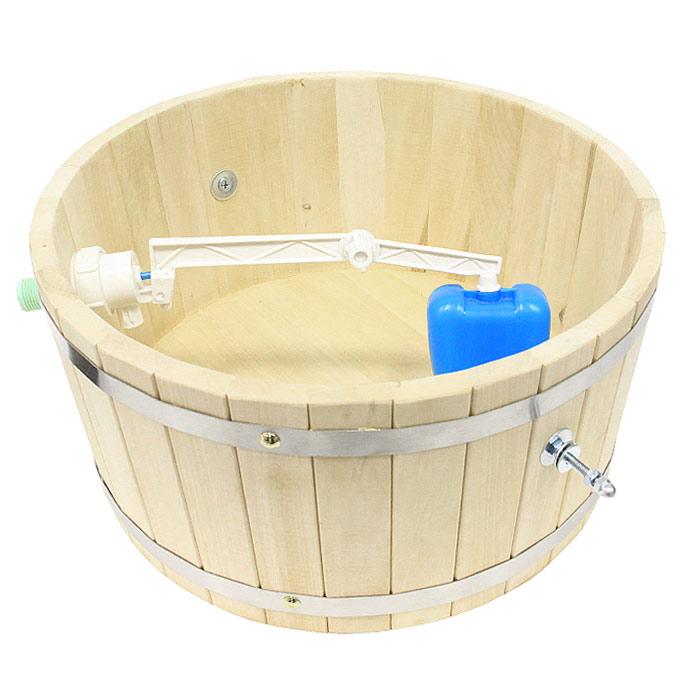 Обливное устройство Невский банщик для бани и сауны, 10 лБ1341Обливное устройство Невский банщик превосходно дополнит банную процедуру! Такое устройство позволит вам принимать контрастный душ после парной, который создаст у вас ощущение бодрости, свежести, зарядит хорошим настроением, поможет закалить организм и повысить иммунитет. Обливное устройство выполнено из деревянных шпунтованных клепок, стянутых двумя обручами из нержавеющей стали. Для изготовления клепок использовалась натуральная древесина липы. В комплект также входит выпускной клапан, который поможет вам регулировать поступление воды. Соединение обливного устройства осуществляется гибким шлангом (не входит в комплект) от водопровода или другого источника воды через хвостовик впускного клапана. Специальный шнур позволяет с удобством пользоваться обливным устройством. Обливное устройство может монтироваться как к стенам, так и к потолку помещения (система крепления входит в комплект). Характеристики: Материал: дерево (липа),...