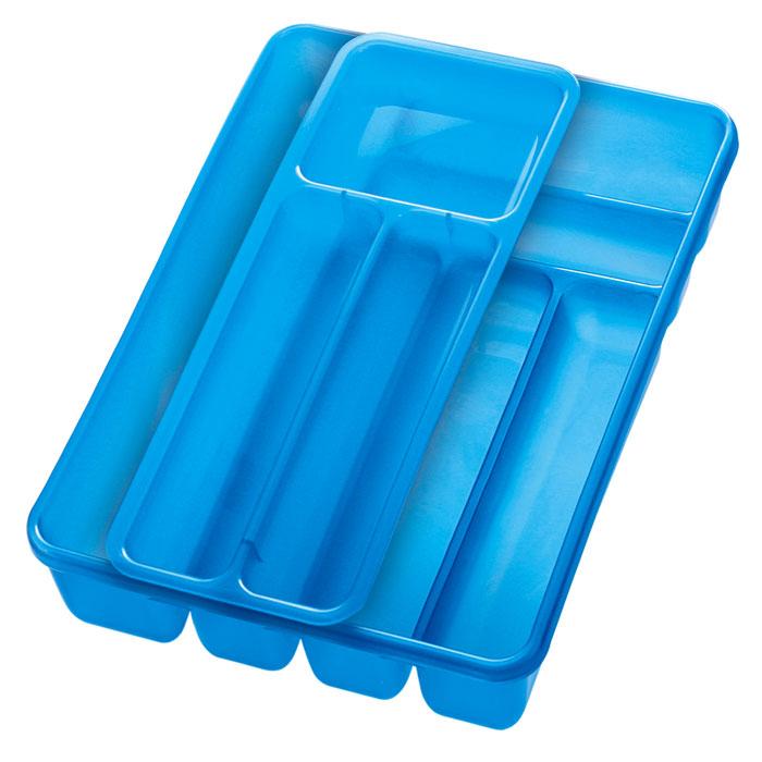 Лоток для столовых приборов Cosmoplast, двойной, цвет: синий, 40 х 30 смVT-1520(SR)Лоток для столовых приборов Cosmoplast изготовлен из пластика. Изделие имеет 3 одинаковых секции для столовых ложек, вилок и ножей, 2 секции для чайных ложек и других мелких столовых приборов и длинную секцию для различных кухонных принадлежностей. Лоток оснащен съемным отделением с 3 дополнительными секциями. Помещается в любой кухонный ящик.