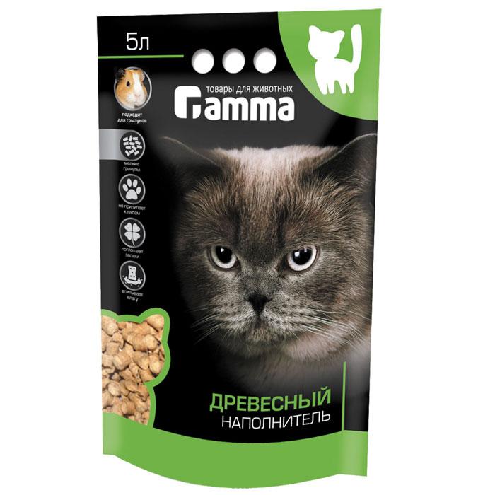 """Гамма! Наполнитель для кошачьего туалета """"Гамма"""", древесный, мелкие гранулы, 5 л Нг-20610"""