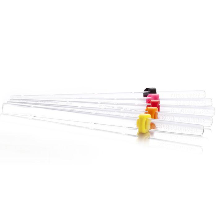 Палочки для коктейлей VacuVin Recipe Sticks, с рецептами, 6 штVT-1520(SR)Коктейльные палочки VacuVin Recipe Sticks, выполненные из прозрачного пластика, с рецептами предназначены для коктейлей, которые смешиваются непосредственно в стакане. На каждой из шести палочек нанесен свой рецепт и доли ингредиентов для быстрого и простого смешивания коктейля. Палочки специально предназначены для высоких коктейльных стаканов. Выпускается шесть видов палочек с рецептами различных коктейлей. Хотите смешать Том Коллинз, Морской бриз или один из четырех других классических коктейлей? С коктейльными палочками Vacu Vin Recipe Sticks вы мгновенно приготовите изысканные коктейли. Регулируемый резиновый колпачек позволяет прикрепить коктейльную палочку к стакану. Следуйте инструкциям на палочке, а затем используйте ее для перемешивания коктейля.Коктейльные палочки легко мыть и можно использовать многократно. Характеристики:Материал: пластик, резина. Комплектация: 6 шт. Размер палочки: 19 см х 1 см х 0,5 см. Размер упаковки: 22 см х 11 см х 2 см. Производитель: Нидерланды. Артикул: 7860060.