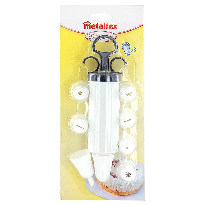 Шприц кондитерский Metaltex с 8 насадками25.24.50Шприц кондитерский Metaltex, изготовленный из пластика, предназначен для помещения и выдавливания разных кремов, в основном служащих для украшения пирожных и тортов. В наборе к шприцу прилагается 8 насадок, имеющих разное сечение и профиль. Кондитерский шприц - превосходный инструмент, который облегчает и ускоряет процесс выпечки печенья, бисквитов, пряников и т.д., идеален для украшения десертов и пирогов сливками или заварным кремом, для заполнения пончиков джемом, а также для украшения бутербродов, тостов и канапе паштетом, маслом, плавленым сыром. Праздничный стол требует особого внимания! Благодаря удивительному помощнику - кондитерский шприц - вы быстро и легко приготовите выпечку любой формы, какой только пожелаете. Характеристики: Материал: пластик. Длина шприца (в собранном виде без насадок): 20,5 см. Объем шприца: 130 мл. Диаметр насадки: 3 см. Количество насадок: 8 шт. Размер упаковки: 28 см х 12 см х 5 см. ...