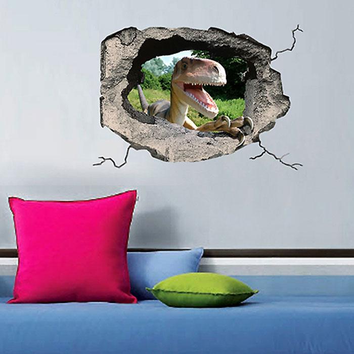 Украшение для стен и предметов интерьера с 3D эффектом Hole ДинозаврTHN132NДекоративные наклейки на стену Nisha - это прекрасный способ обновить интерьер в гостиной, детской комнате, спальне, столовой или офисных помещениях. Уникальный дизайн с элементами оптической иллюзии создается на основе обычных фотографий. Для достижения трехмерного эффекта объекты «помещают» внутрь ниш с помощью специального программного обеспечения. Наклейки можно использовать на следующих поверхностях: обои, окрашенные стены, стекло, дерево, пластик и др. Главное требование - поверхность обязательно должна быть ровной. Использование на обоях с фактурной поверхностью возможно только с применением дополнительных склеивающих средств.Рекомендации по выбору стены:- Для получения максимального эффекта лучше всего выбрать стену, которая будет просматриваться с расстояния не менее 3 м.- Поверхность должна быть гладкой, сухой и чистой от загрязнений и пыли.- В случае если вы наклеиваете несколько наклеек рядом, то расстояние между ними должно быть не менее 7 см.- Рекомендуется выбирать либо цветную стену либо предварительно ее покрасить цветной краской, так как эффект глубины значительно увеличивается именно на цветных стенах.- Если вы хотите отклеить наклейку, а затем вновь приклеить, отклеивайте ее очень аккуратно, для того чтобы избежать загибания углов. Характеристики:Материал: самоклеющаяся пленка. Количество листов: 1 шт. Размер наклейки: 48 см х 33 см. Размер упаковки: 48 см х 33 см. Артикул: SKU 601.