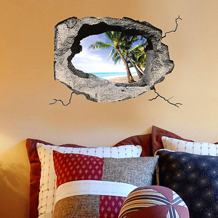 Украшение для стен и предметов интерьера с 3D эффектом Hole Тропический островSKU-625Декоративные наклейки на стену Nisha - это прекрасный способ обновить интерьер в гостиной, детской комнате, спальне, столовой или офисных помещениях. Уникальный дизайн с элементами оптической иллюзии создается на основе обычных фотографий. Для достижения трехмерного эффекта объекты «помещают» внутрь ниш с помощью специального программного обеспечения. Наклейки можно использовать на следующих поверхностях: обои, окрашенные стены, стекло, дерево, пластик и др. Главное требование - поверхность обязательно должна быть ровной. Использование на обоях с фактурной поверхностью возможно только с применением дополнительных склеивающих средств. Рекомендации по выбору стены: - Для получения максимального эффекта лучше всего выбрать стену, которая будет просматриваться с расстояния не менее 3 м. - Поверхность должна быть гладкой, сухой и чистой от загрязнений и пыли. - В случае если вы наклеиваете несколько наклеек рядом, то расстояние между ними должно быть...