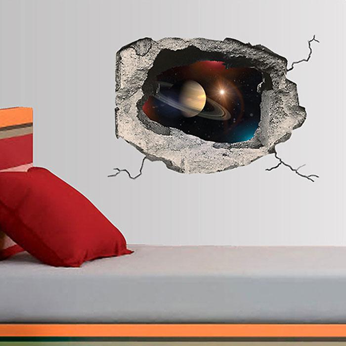 Украшение для стен и предметов интерьера с 3D эффектом Hole КосмосUP210DFДекоративные наклейки на стену Nisha - это прекрасный способ обновить интерьер в гостиной, детской комнате, спальне, столовой или офисных помещениях. Уникальный дизайн с элементами оптической иллюзии создается на основе обычных фотографий. Для достижения трехмерного эффекта объекты «помещают» внутрь ниш с помощью специального программного обеспечения. Наклейки можно использовать на следующих поверхностях: обои, окрашенные стены, стекло, дерево, пластик и др. Главное требование - поверхность обязательно должна быть ровной. Использование на обоях с фактурной поверхностью возможно только с применением дополнительных склеивающих средств.Рекомендации по выбору стены:- Для получения максимального эффекта лучше всего выбрать стену, которая будет просматриваться с расстояния не менее 3 м.- Поверхность должна быть гладкой, сухой и чистой от загрязнений и пыли.- В случае если вы наклеиваете несколько наклеек рядом, то расстояние между ними должно быть не менее 7 см.- Рекомендуется выбирать либо цветную стену либо предварительно ее покрасить цветной краской, так как эффект глубины значительно увеличивается именно на цветных стенах.- Если вы хотите отклеить наклейку, а затем вновь приклеить, отклеивайте ее очень аккуратно, для того чтобы избежать загибания углов. Характеристики:Материал: самоклеющаяся пленка. Количество листов: 1 шт. Размер наклейки: 48 см х 33 см. Размер упаковки: 48 см х 33 см. Артикул: SKU 632.