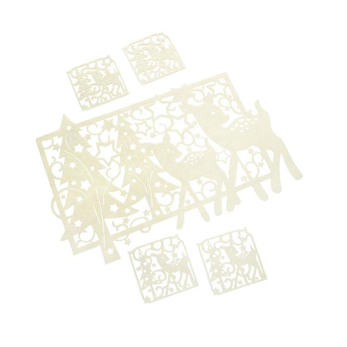 Набор подставок под горячее House & Holder 5шт, цвет: бежевый LS106052CRLS106052CRОригинальный набор House & Holder, выполненный из фетра бежевых цветов, состоит из пяти подставок под кружки. Такие подставки идеально впишутся в интерьер современной кухни. Большая прямоугольная и маленькие квадратные подставки, оформлены перфорацией в виде оленей с новогодними елками и узорами. Каждая хозяйка знает, что подставка под горячее - это незаменимый и очень полезный аксессуар на каждой кухне. Ваш стол будет не только украшен оригинальными подставками, но и сбережет его от воздействия высоких температур. Характеристики: Материал: фетр. Цвет: бежевый. Размер большой салфетки: 43 см х 25 см х 0,3 см. Размер маленькой салфетки: 9,5 см х 9,5 х 0,3 см. Комплектация: 5 шт. Артикул: LS106052CR.