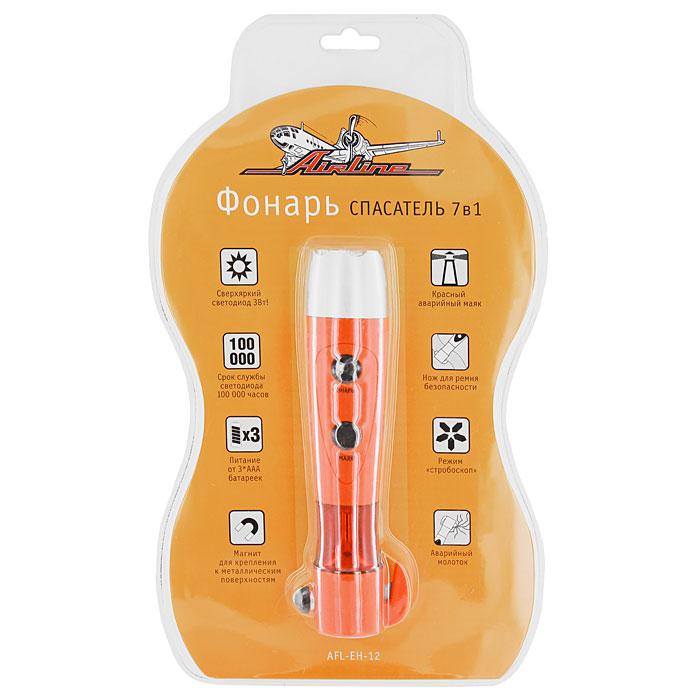 Фонарь спасатель 7 в 1 Airline AFL-EH-12, 3 ВтAFL-EH-12Фонарь спасатель 7-в-1 Airline AFL-EH-12 является источником яркого света и незаменимым помощником в экстремальных ситуациях. Также этот фонарь можно использовать и для других целей: на катере, на даче, на отдыхе, на рыбалке и охоте, в автосервисе и дома. Особенности: Яркий светодиод; Фонарь в режиме стробоскопа; Магнит для крепления; Красный аварийный маяк (2 режима: постоянное свечение, мерцающее свечение); Нож для ремня безопасности; Аварийный молоток для разбивания стекла в автомобиле. Характеристики: Мощность светодиода: 3 Вт. Срок службы светодиода: до 100 000 часов. Питание: 3 батарейки ААА. Размер упаковки: 37 см х 22 см. Артикул: AFL-EH-12.