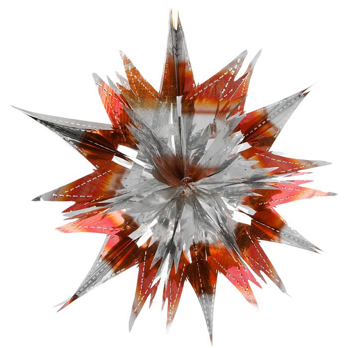 Новогоднее подвесное украшение Звезда, цвет: серебристый, оранжевый. 2700927009Новогоднее украшение Звезда отлично подойдет для декорации вашего дома и новогодней ели. Украшение выполнено из ПВХ в форме многогранной многоцветной звезды. С помощью специальной петельки звезду можно повесить в любом понравившемся вам месте. Украшение легко складывается и раскладывается благодаря металлическим кольцам. Новогодние украшения несут в себе волшебство и красоту праздника. Они помогут вам украсить дом к предстоящим праздникам и оживить интерьер по вашему вкусу. Создайте в доме атмосферу тепла, веселья и радости, украшая его всей семьей. Коллекция декоративных украшений из серии Magic Time принесет в ваш дом ни с чем не сравнимое ощущение волшебства! Размер украшения (в сложенном виде): 25 см х 21,5 см.