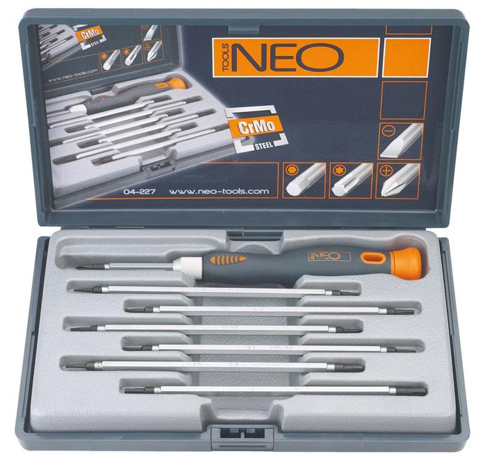 Набор двусторонних отверток Neo, 7 шт04-227Набор двусторонних отверток Neo предназначен для монтажа/демонтажа резьбовых соединений. В набор входит: Держатель. 3 шлицевых отвертки 1,5 мм, 2 мм, 3 мм. 3 крестовых отвертки РН000, РН00, РН0. 6 шестигранных отверток Т5, Т6, Т7, Т8. 4 шестиугольных отвертки 1,5 мм, 2 мм, 2,5 мм, 3 мм. Пенал для хранения. Характеристики: Материал: пластик, хром-молибден. Длина ручки: 11 см. Длина отвертки: 12 см. Размеры упаковки: 27 см х 23 см х 4 см.