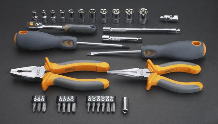 Набор инструментов Neo, 33 шт08-631Набор инструментов Neo предназначен для монтажа и демонтажа резьбовых соединений. Это необходимый предмет в каждом доме, набор станет незаменимым в вашем хозяйстве.Такой набор будет идеальным подарком мужчине. В состав набора входит: Плоскогубцы комбинированные: 16 см. Плоскогубцы удлиненные: 16 см. Отвертка шлицевая: 6,5 х 100 мм. Отвертка крестовая: РН2 х 100 мм. Трещотка 1/4. Головки: 5 мм, 5,5 мм, 6 мм, 7 мм, 8 мм, 9 мм, 10 мм, 11 мм, 12 мм, 13 мм, 14 мм. Удлинитель 1/4: 15 см. Держатель для бит. Шарнир универсальный. Биты крестовые: РН1, РН2, РН3. Биты шестиугольные: 3 мм, 4 мм, 5 мм, 6 мм. Биты шестигранные: Т10, Т15, Т20, Т25, Т30, Т40. Пластиковый кейс. Характеристики: Материал: пластик, хром-ванадий. Длина трещотки: 12,5 см. Длина плоскогубцев удлиненных: 16 см. Длина плоскогубцев комбинированных: 16 см. Длина отверток: 22...