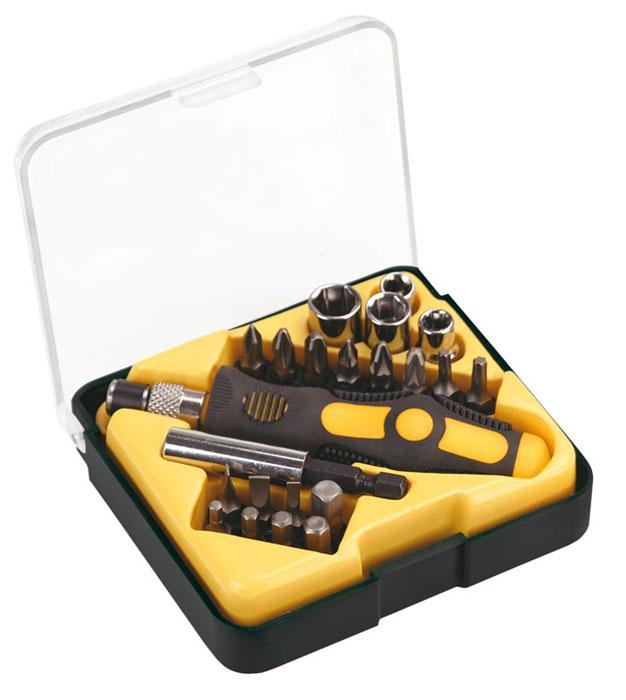 """Отвертка с битами и головками Topex, 22 штSC-FD421005Отвертка с битами и головками Торех предназначена для монтажа/демонтажа резьбовых соединений с применением значительных усилий. Прорезиненная рукоятка устойчива к различным смазочным материалам. Имеет магнитный наконечник.В состав набора входят:Отвертка для бит.Биты шлицевые: 4 мм, 5 мм, 6 мм.Биты крестовые: PH1, PH2, PH3, PZ1, PZ2, PZ3.Биты шестигранные: H3, H4, H5, Н6, Т15, Т20.Адаптер 1/4"""".Головки торцевые: 5,5 мм, 6 мм, 8 мм, 10 мм.Пенал для хранения. Характеристики: Материал: пластик, металл. Длина бит: 2,5 см. Длина ручки: 10 см. Размеры пенала:10 см х 9 см х 3 см. Размеры упаковки:20 см х 12 см х 4 см."""