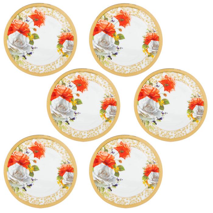 Набор подстановочных тарелок Версаль, диаметр 22,5 см, 6 шт222158AНабор Версаль состоит из шести подстановочных тарелок, выполненных из высококачественного фарфора. Тарелки оформлены изысканным рисунком в виде роз и золотистой каймой по краю. Они сочетают в себе изысканный дизайн с максимальной функциональностью. Оригинальность оформления тарелок придется по вкусу и ценителям классики, и тем, кто предпочитает утонченность и изящность. Набор тарелок Версаль послужит отличным подарком к любому празднику. Характеристики: Материал: фарфор. Диаметр тарелки: 22,5 см. Высота тарелки: 2,5 см. Комплектация: 6 шт. Размер упаковки: 23 см х 23 см х 7,5 см. Артикул: 222158A.