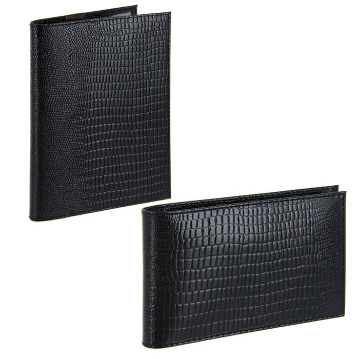 Подарочный набор Befler: бумажник водителя, визитница, цвет: черный. BV.1.-3.black/V.30.-3.blackBV.1.-3.black/V.30.-3.blaПодарочный набор Befler состоит из бумажника водителя и визитницы. Предметы набора выполнены из натуральной лаковой кожи с ярко выраженным рельефным рисунком под рептилию. Бумажник водителя Befler имеет внутри два вертикальных прозрачных кармана и внутренний блок для водительских документов из прозрачного пластика (6 карманов). Компактная горизонтальная визитница Befler - стильная вещь для хранения визиток. Визитница предназначена для хранения 20 визиток Подарочный набор Befler станет великолепным подарком для человека, ценящего качественные и практичные вещи. Характеристики: Материал: натуральная кожа, текстиль, металл. Размер бумажника (в закрытом виде): 9,2 см х 12,6 см х 1 см. Размер визитницы: 11,5 см х 7 см х 2 см. Цвет: черный. Артикул: BV.1.-3.black/V.30.-3.black.