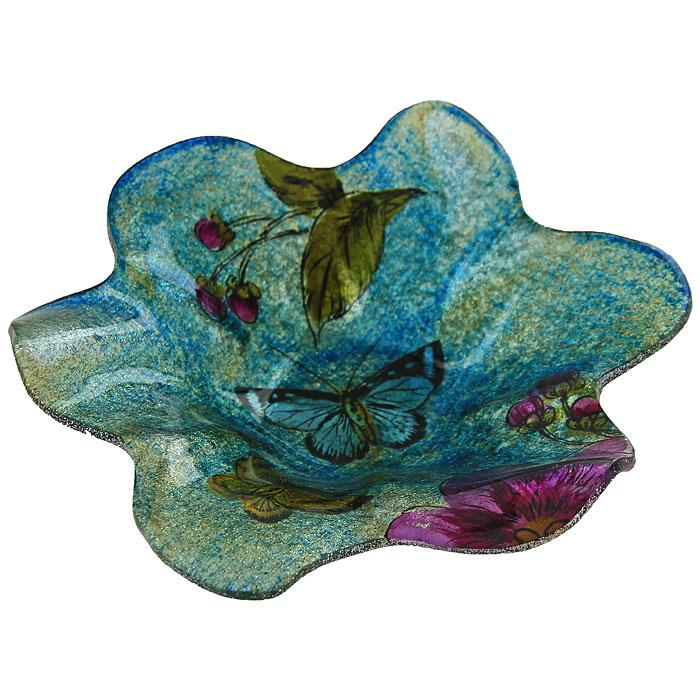 Блюдо Цветок, цвет: синий, фиолетовый. LIL 1280-32LIL 1280-32Блюдо, изготовленное из стекла, оформлено в форме цветка и декорировано синими и золотистыми блестками. Такое блюдо станет достойным украшением вашего интерьера и придаст ему нотки необычности и изысканности. Оригинальное блюдо украсит сервировку вашего стола и подчеркнет прекрасный вкус хозяйки, а также станет отличным подарком. Характеристики: Материал: стекло. Размер блюда: 19 см х 4 см. Размер упаковки: 20,5 см х 19 см х 6,5 см. Артикул:LIL 1280-32.