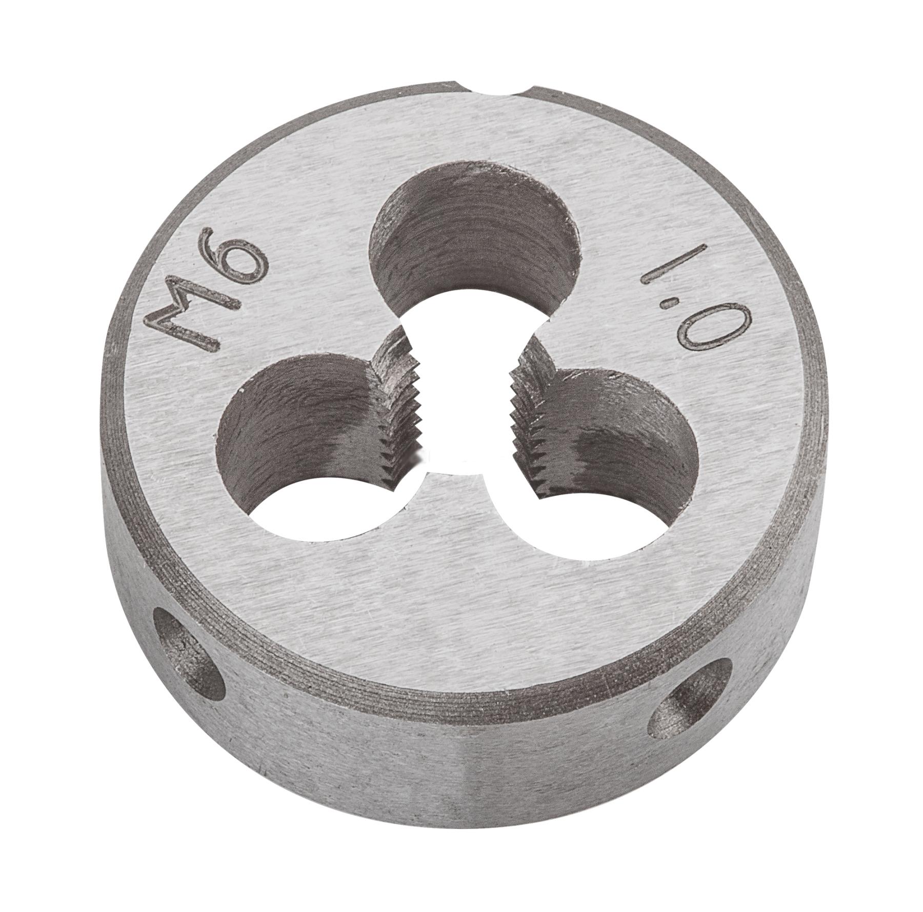 Плашка вольфрамовая Topex, М6, 25 х 9 мм14A306Плашки вольфрамовые Торех используются для нарезания метрической резьбы. Характеристики: Материал: металл. Шаг резьбы: М6. Размеры плашки: 2,5 см х 0,9 см. Размеры упаковки: 9 см х 5 см х 1,5 см.