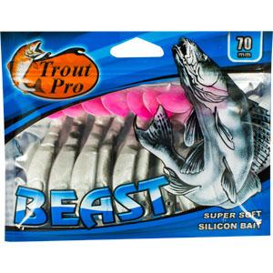 Риппер Trout Pro Beast, длина 7 см, 10 шт. 3519535195Риппер предназначен для джиговой ловли хищной рыбы: окуня, судака, щуки. Специальная пластина на тонком основании делает приманку более гибкой и подвижной, что придает ей усиленные колебательные движения. Характеристики: Длина: 7 см. Цвет тела: 155 (перламутровый с черной спиной и красным хвостиком). Материал: эластичный полимер. Размер упаковки: 15,4 см х 12 см х 0,8 см. Артикул: 35195.