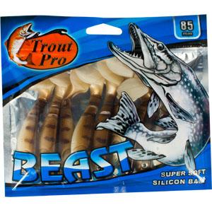 Риппер Trout Pro Beast, длина 8,5 см, 10 шт. 3519935199Риппер предназначен для джиговой ловли хищной рыбы: окуня, судака, щуки. Специальная пластина на тонком основании делает приманку более гибкой и подвижной, что придает ей усиленные колебательные движения. Характеристики: Длина: 8,5 см. Цвет тела: 144 (светло-коричневый с темными полосками). Материал: эластичный полимер. Размер упаковки: 16,8 см х 14,4 см х 0,9 см. Артикул: 35199.
