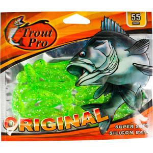 Риппер Trout Pro Original, длина 5,5 см, 20 шт. 3525535255Приманка предназначена для джиговой ловли хищной рыбы: окуня, судака, щуки. Специальная пластина придает приманке колебательные движения, усиливая ее сходство с живой рыбкой. Характеристики: Длина: 5,5 см. Цвет тела: 51 (зеленый с блестками). Материал: эластичный полимер. Размер упаковки: 16,5 см х 14 см х 0,5 см. Производитель: Китай. Артикул: 35255.