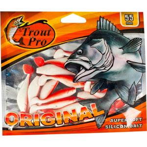 Риппер Trout Pro Original, длина 5,5 см, 20 шт. 3526010948Приманка предназначена для джиговой ловли хищной рыбы: окуня, судака, щуки. Специальная пластина придает приманке колебательные движения, усиливая ее сходство с живой рыбкой. Характеристики:Длина: 5,5 см. Цвет тела:149 (белый с красной спиной). Материал: эластичный полимер. Размер упаковки: 16,5 см х 14 см х 0,5 см. Производитель: Китай. Артикул: 35260.
